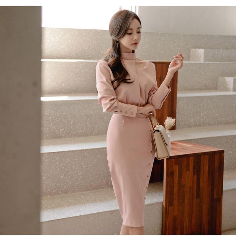 アシンメトリーブラウスxタイトスカートドッキングワンピース ドレス お呼ばれ 二次会 オルチャン 韓国 ファッション D3084