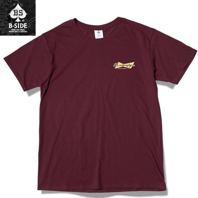 B-SIDE【ビーサイド】 Tシャツ メンズ 半袖 バーガンディ Lサイズ