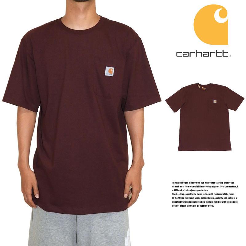 CARHARTT カーハート ポケットTシャツ US規格 K87 PRT バーガンディ