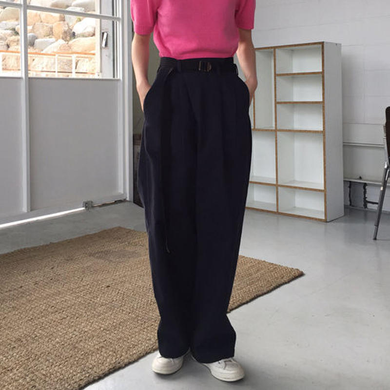 belt pointed wrap pants