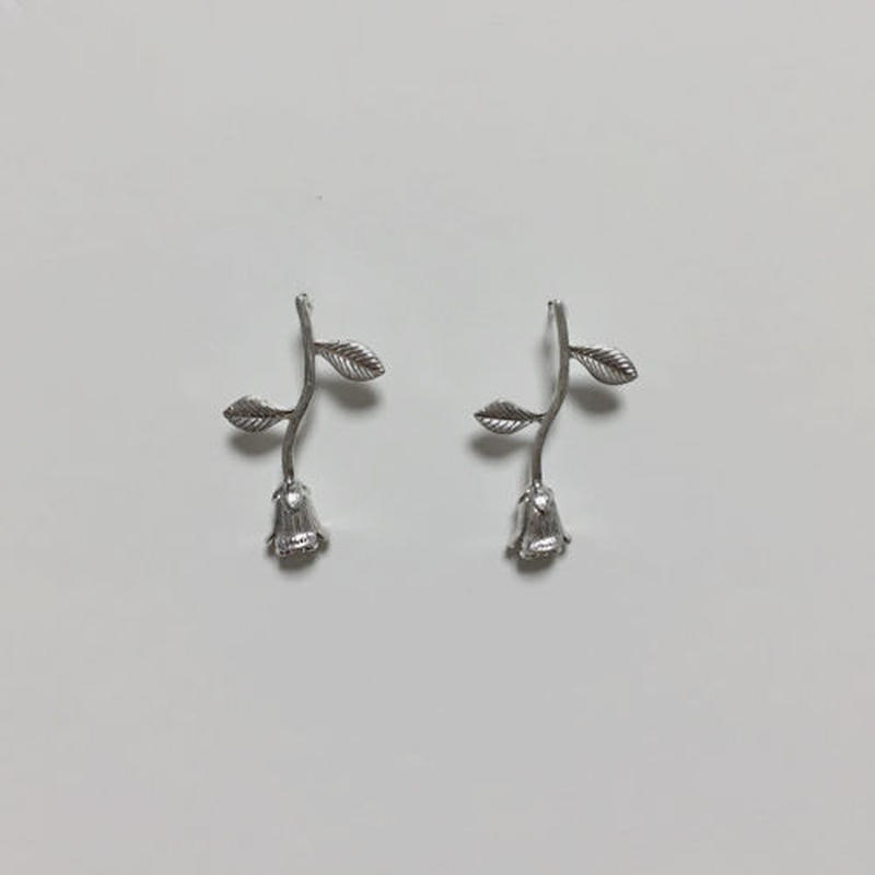rose silver pierced earrings