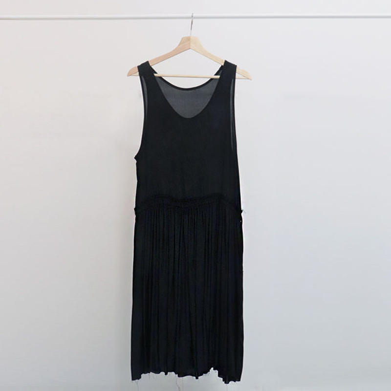 [ sample SALE ] silk satin shirring dress