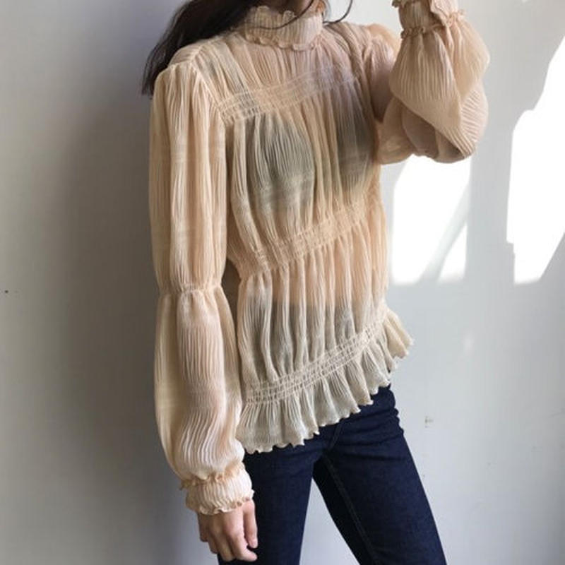 -2 colors- gathered chiffon blouse