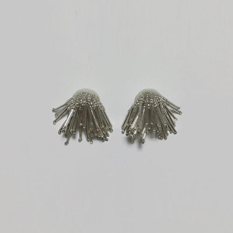 volume fringe beads pierced earrings