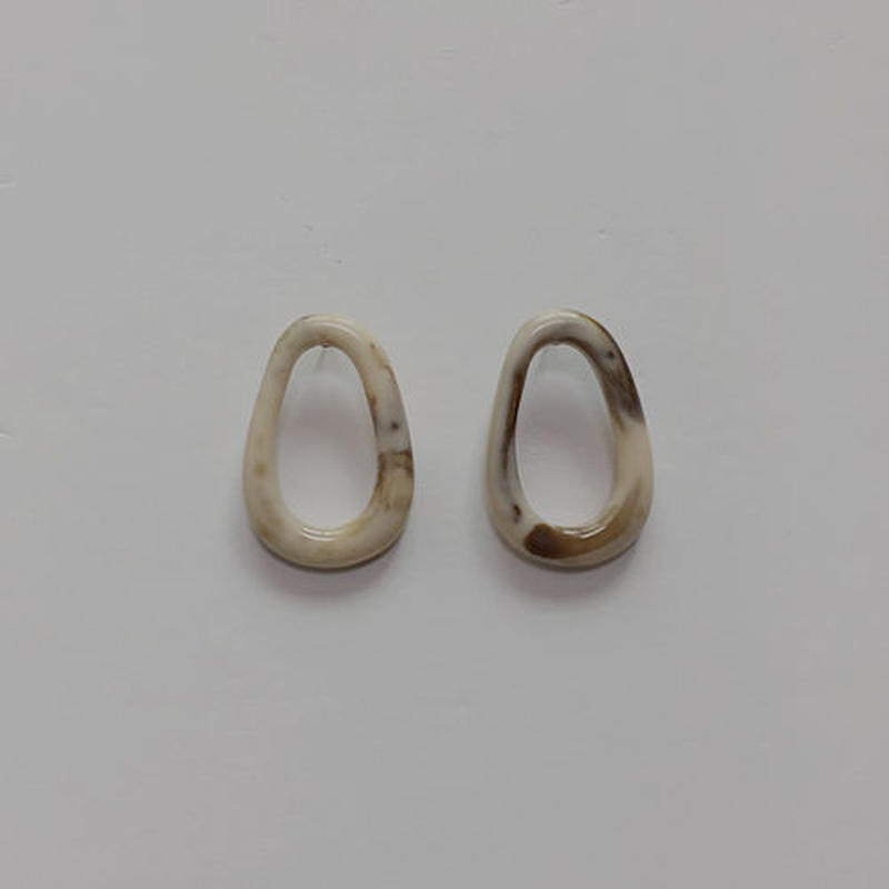 -2 colors- marble shape pierced earrings