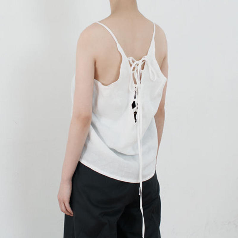 back lace-up linen top