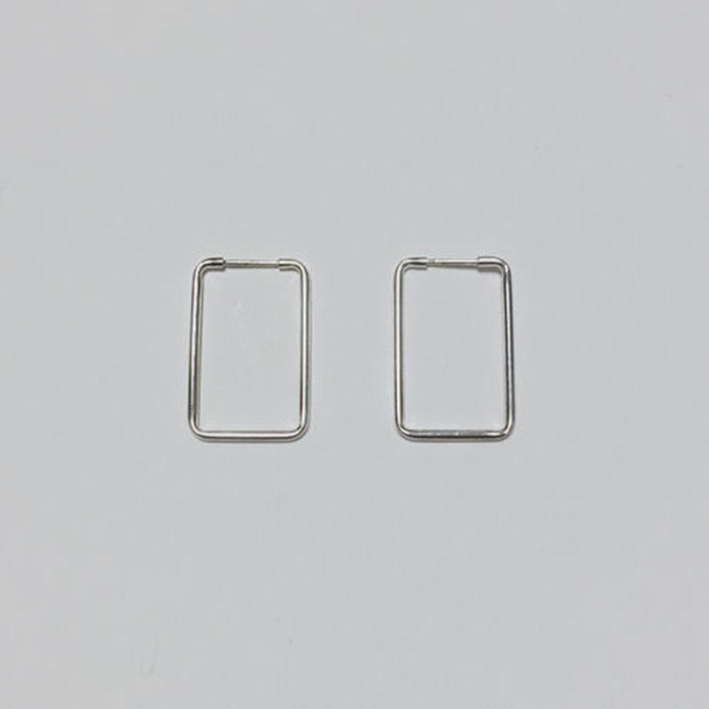 -silver 925- square hoop pierced earrings
