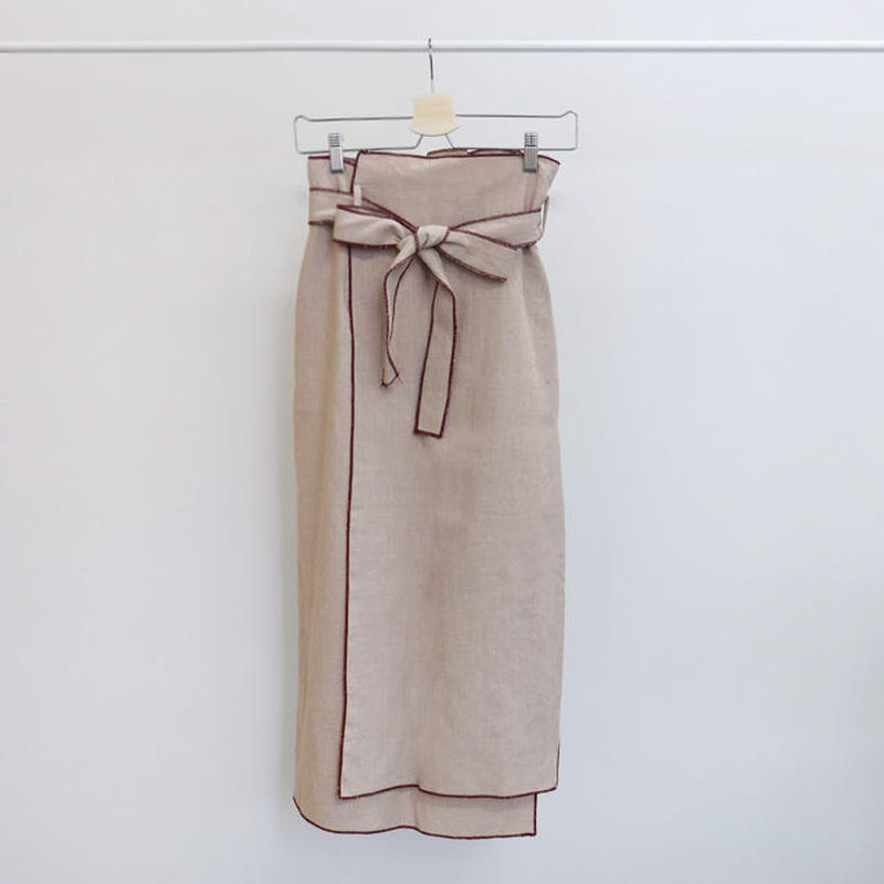 [ sample SALE ] edge stitch wrap linen skirt