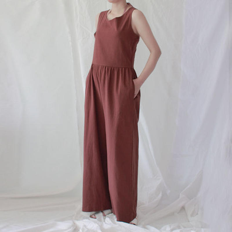 -2 colors- twist strap linen overall