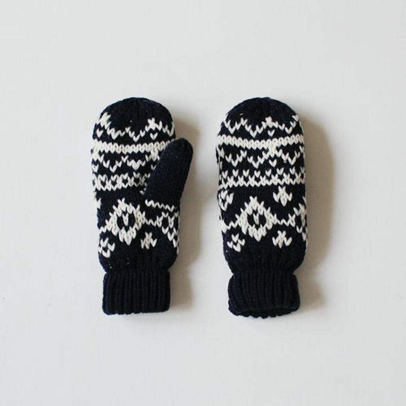 -2colors- jacquard knit mittens