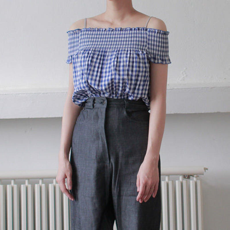 gingham check 2way blouse