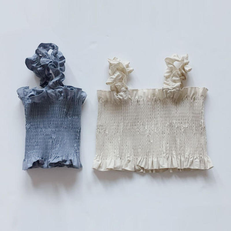 -2 colors- shirring cotton bustier