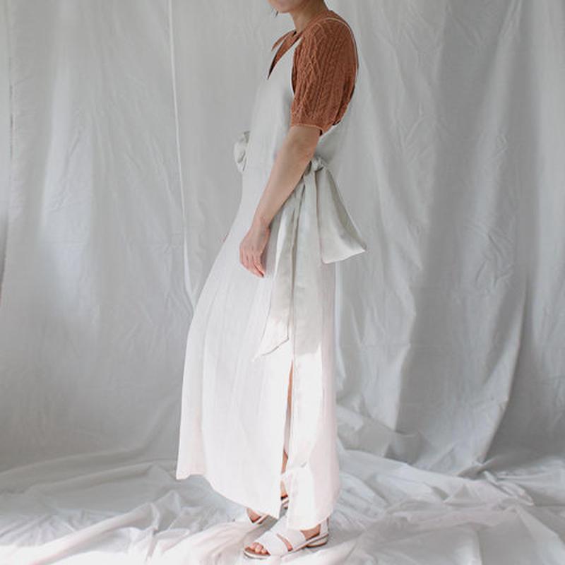 waist ribbon linen onepiece