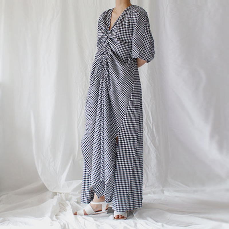 ginghum check shirring volume onepiece