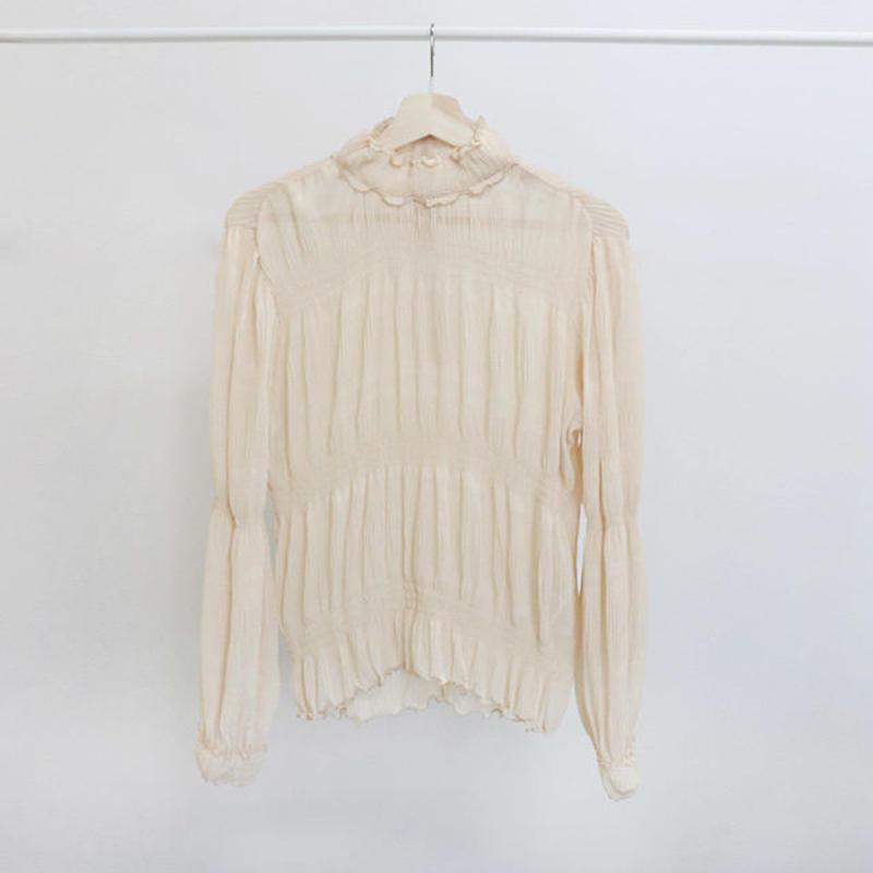 [ sample SALE ] gathered chiffon blouse