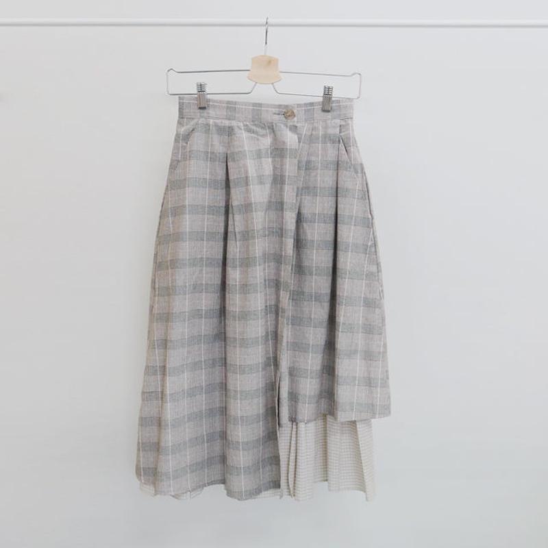 [ sample SALE ] unbalance cotton check skirt
