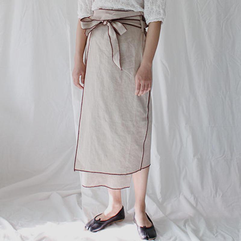 piping stitch wrap linen skirt