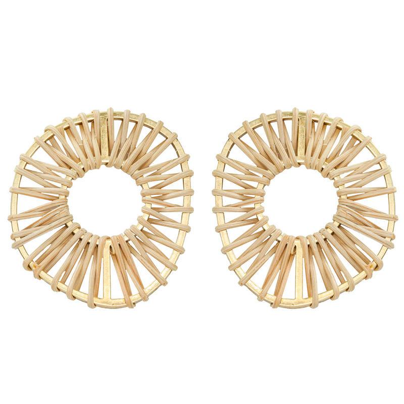 VITRAIL rattan round pierce/earring(gold)