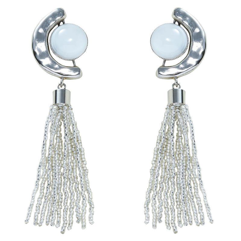 FRAGMENT glass tassel earring(silver)