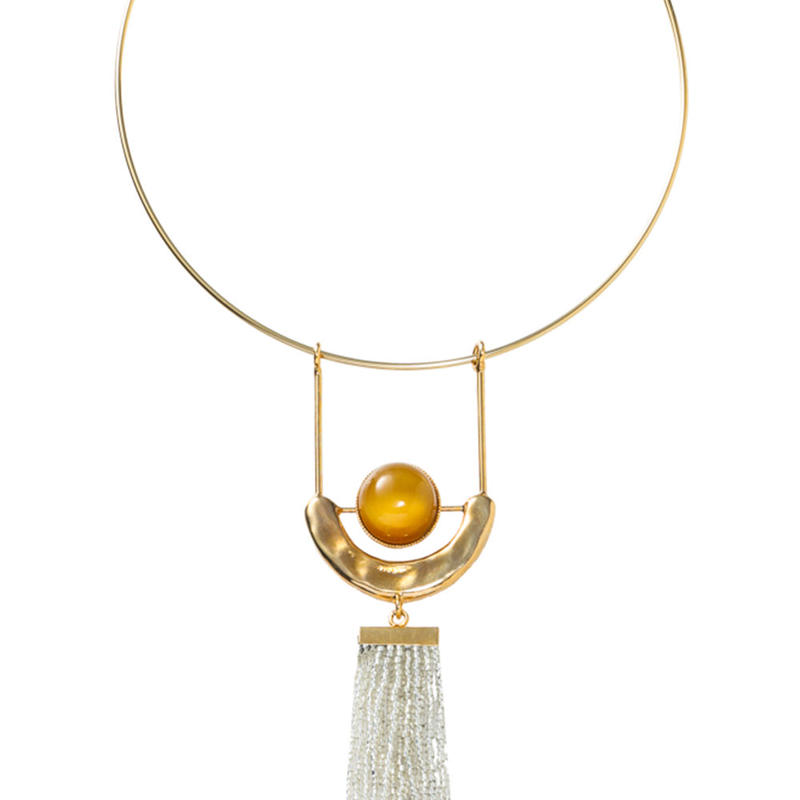 FRAGMENT glass tassel choker(gold)
