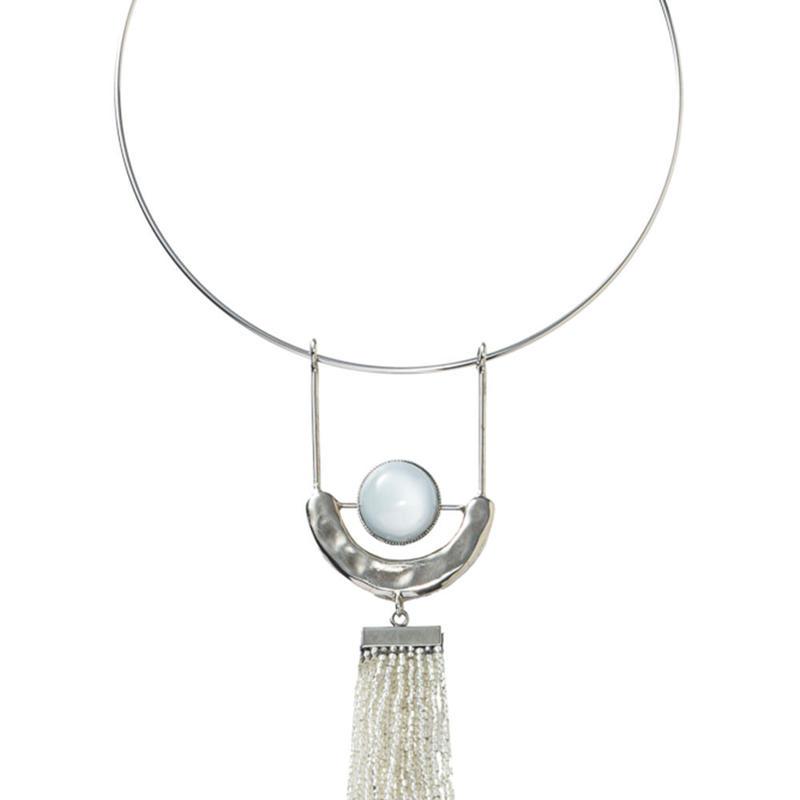 FRAGMENT glass tassel choker(silver)