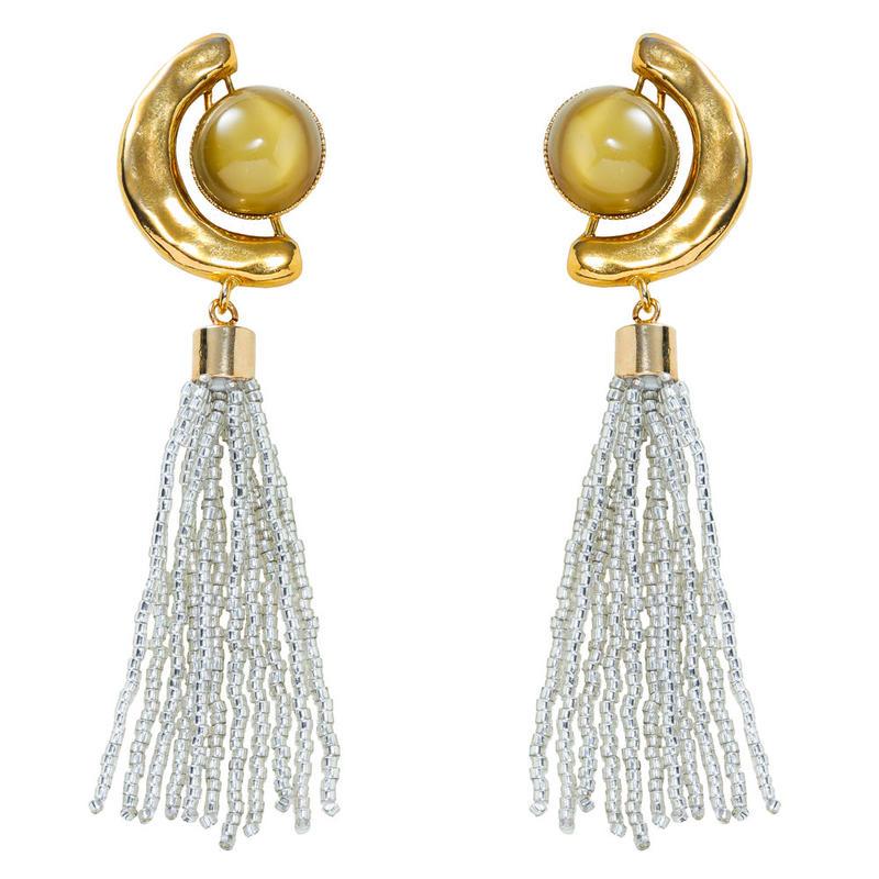 FRAGMENT glass tassel earring(gold)