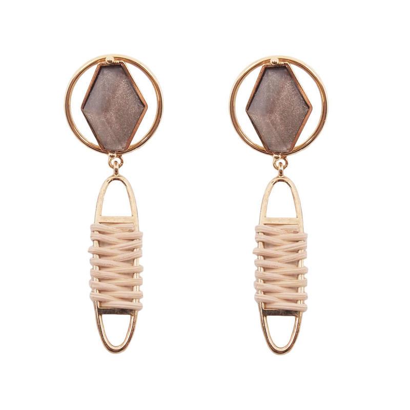 VITRAIL rattan earring(gold)