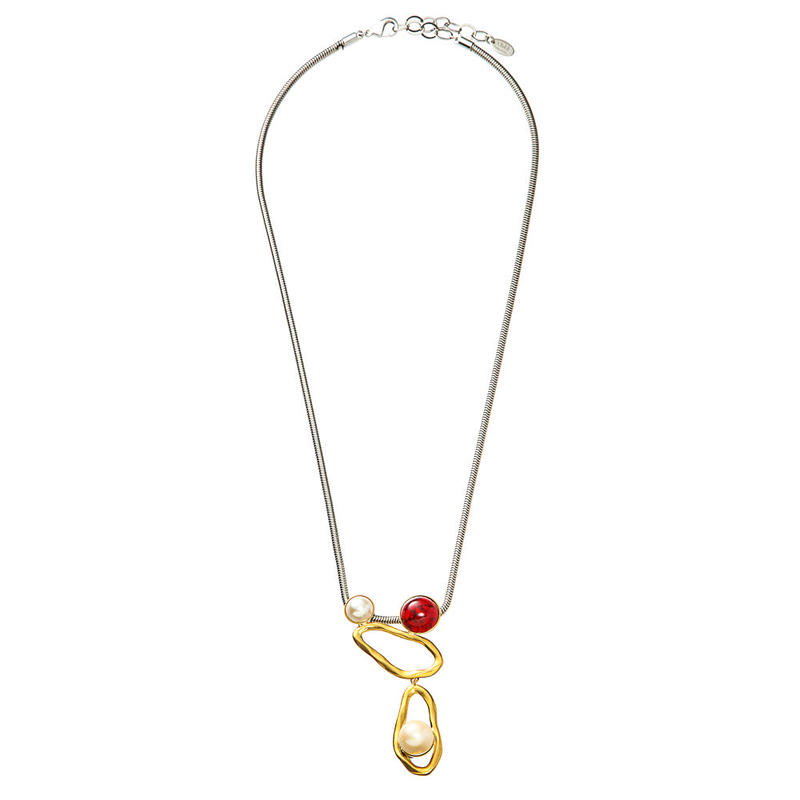 COSMO long necklace (goldxred)