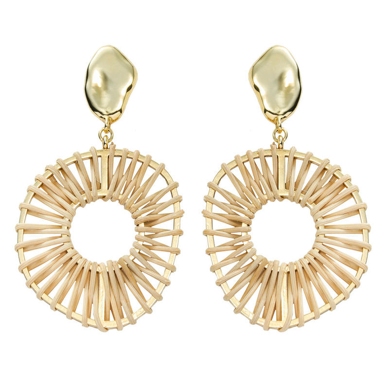 VITRAIL rattan hoop pierce/earring(gold)