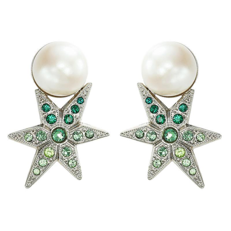 STAR pearl color stone pierce / earring