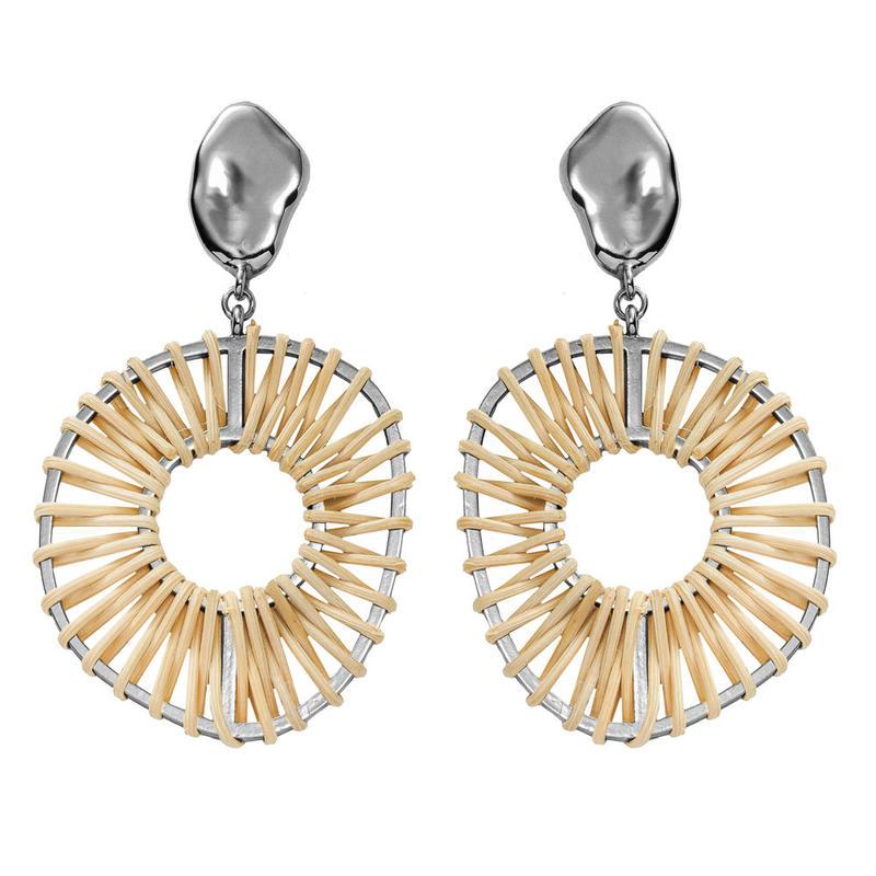 VITRAIL rattan hoop pierce/earring(silver)