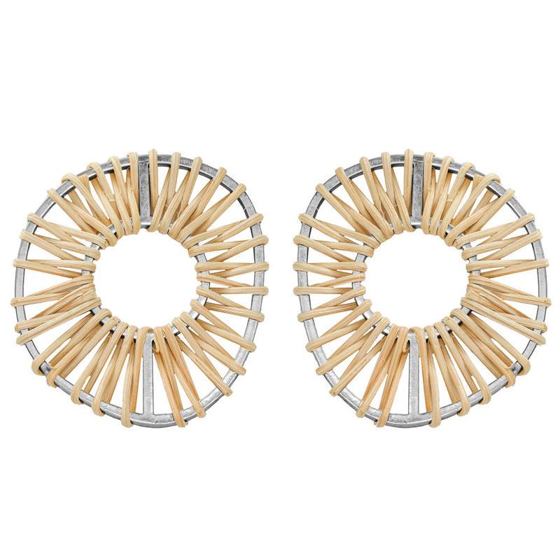 VITRAIL rattan round pierce/earring(silver)