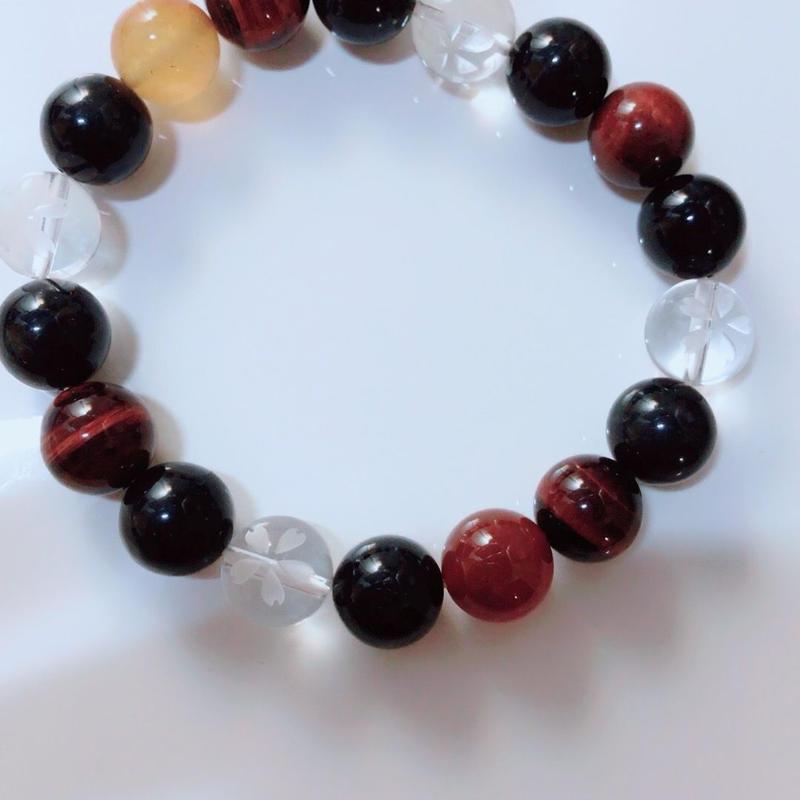 天然石 パワーストーン 桜水晶 ブレスレット メンズ向け(9)