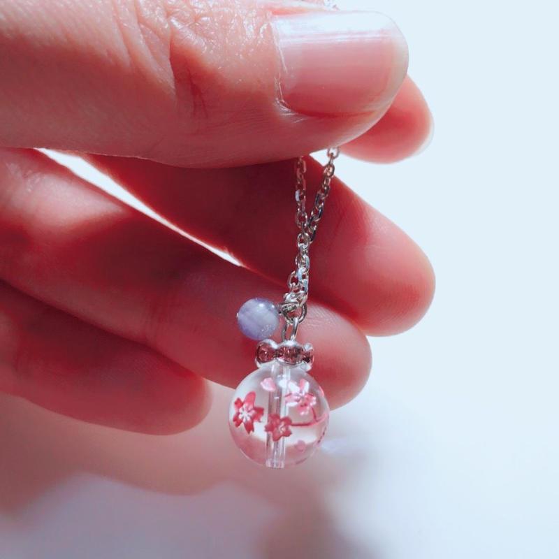 天然石 パワーストーン 桜彫り  ネックレス
