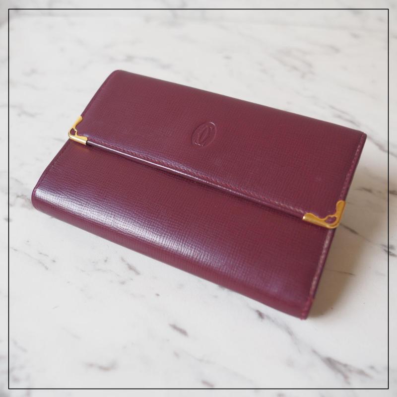 Cartire カルティエ マストシリーズ ビンテージ 折り財布 ボルドー