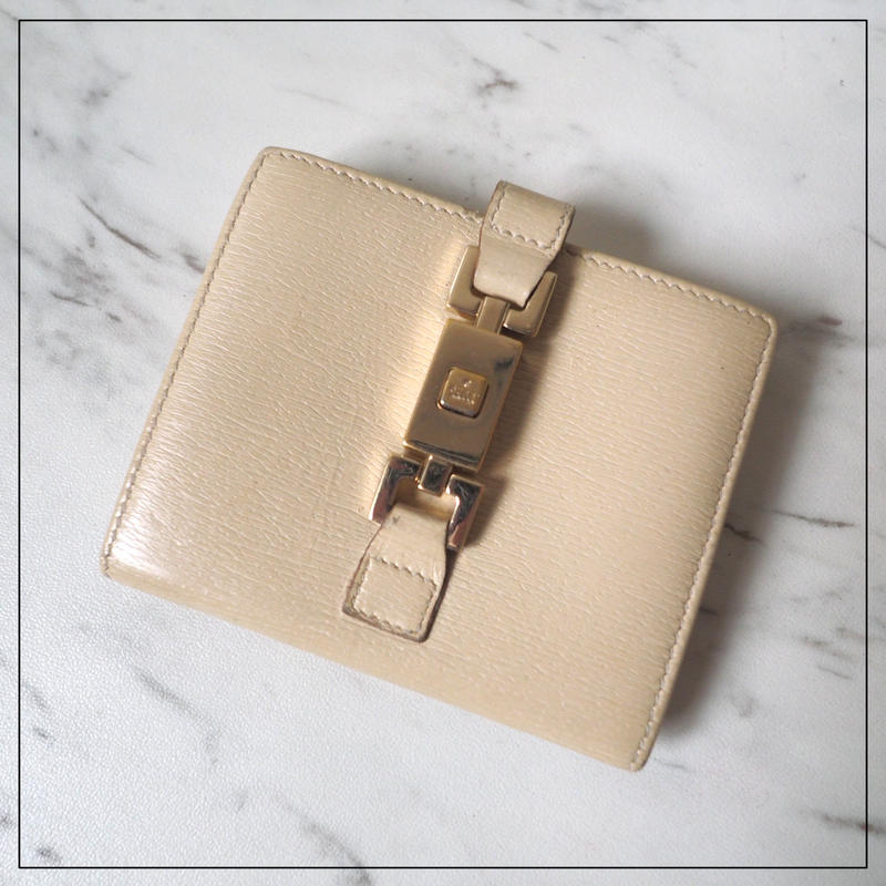 GUCCI グッチ ジャッキー 折財布 両面 2つ折財布 オフホワイト