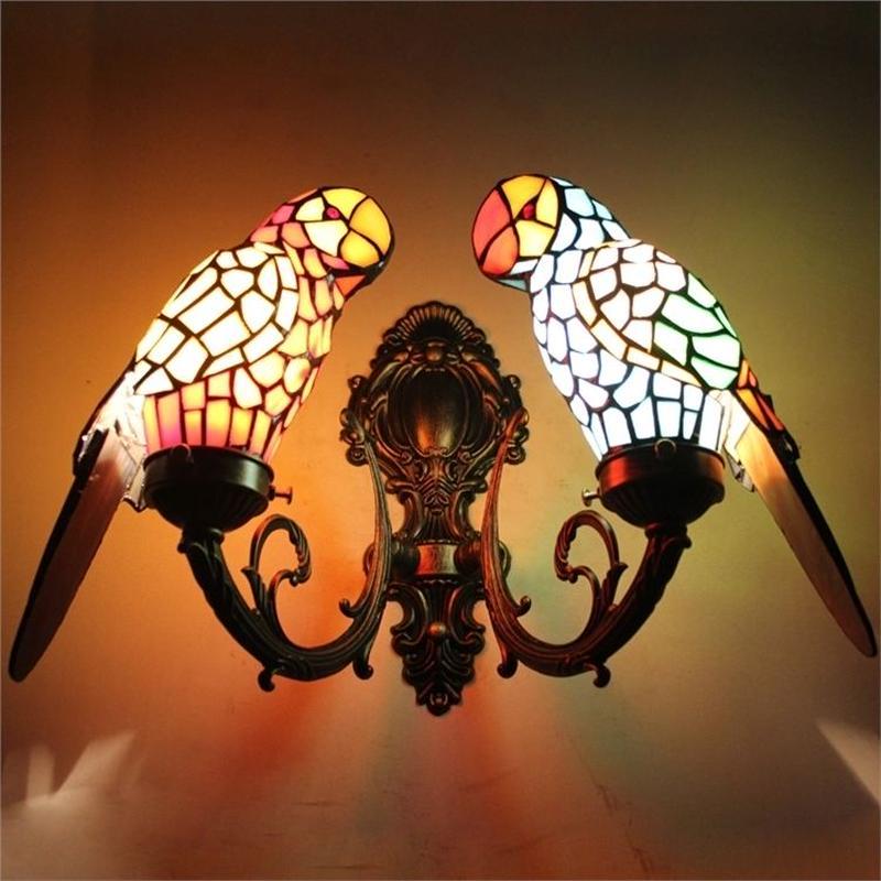 ティファニーライト 壁掛け照明 ステンドグラスランプ 玄関照明 ブラケット おしゃれ可愛いオウム型 2灯 お贈り物 StyleChic