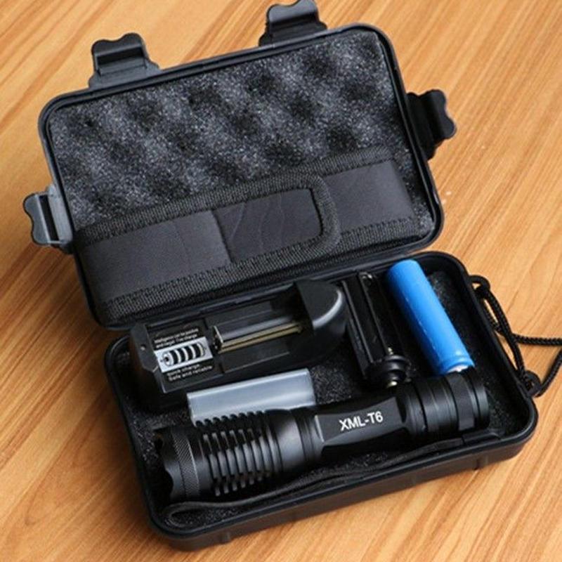 タクティカルライト懐中電灯8000ルーメンcree xm-l2ズーム可能LEDライトトーチハンディライト
