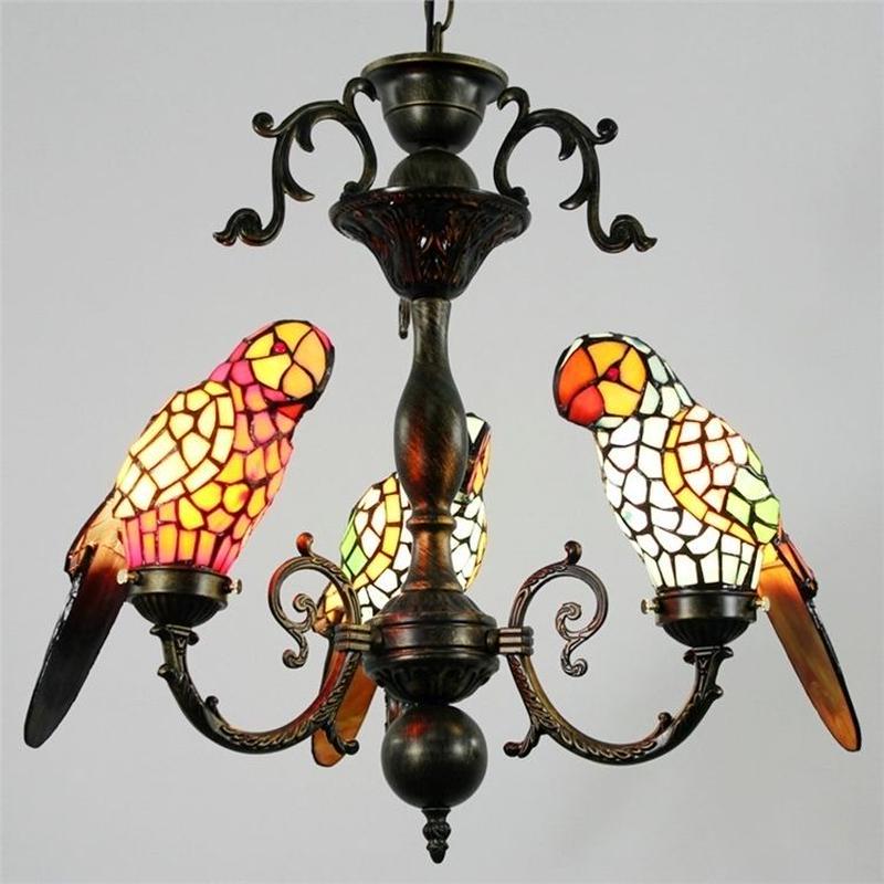 シャンデリア ティファニーライト ステンドグラスランプ  照明器具 リビング 寝室 店舗 オウム型 3灯 StyleChic