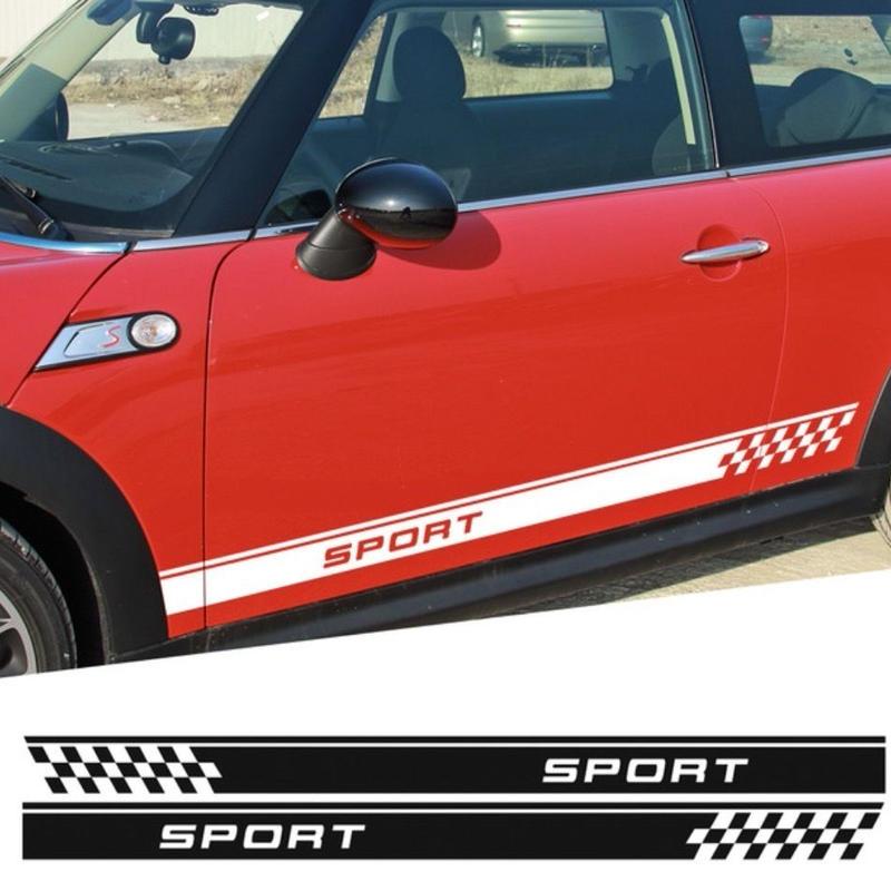 ミニクーパー用 ステッカー ドアサイド デカール チェッカーフラグ R50 R53 R56 カントリーマン R60 ペースマン R61