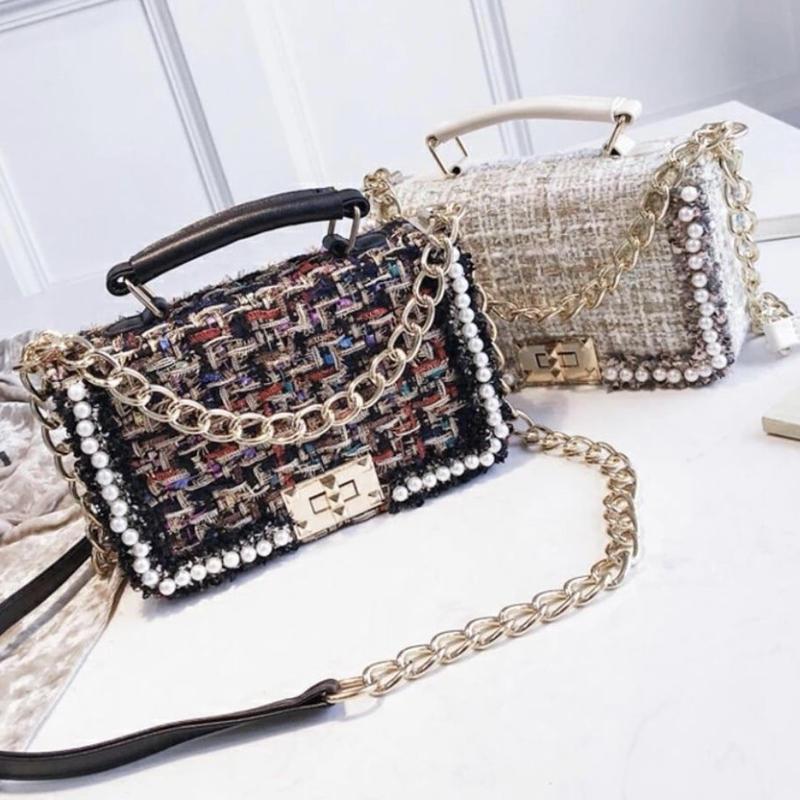 tweed pearl shoulder bag