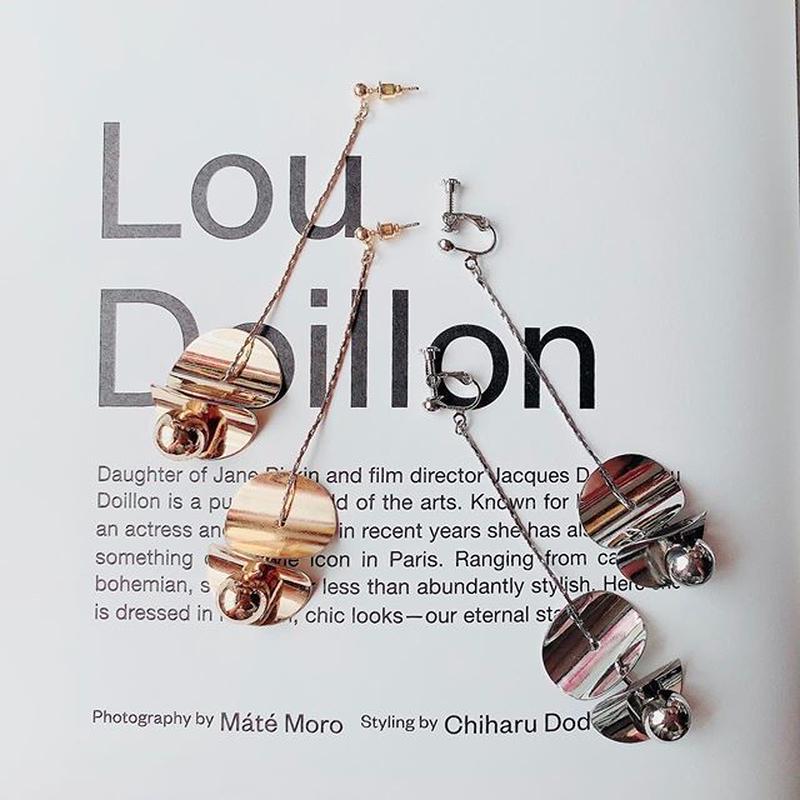 bowl metal long pierce/earring