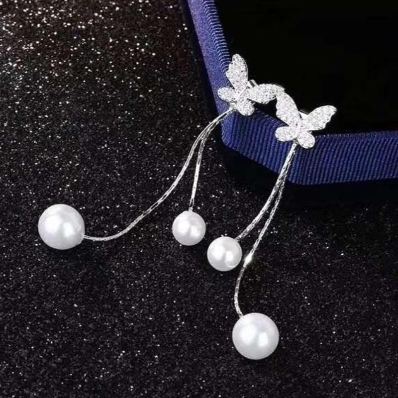 butterfly × pearl 2way pierce