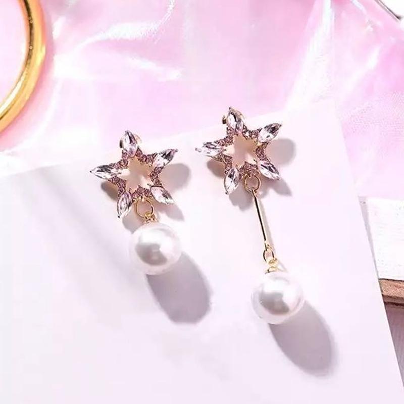 pink  star × pearl asymmetry  pierce
