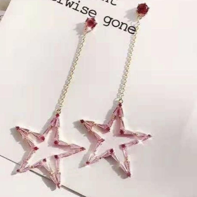 pink star stone chain pink