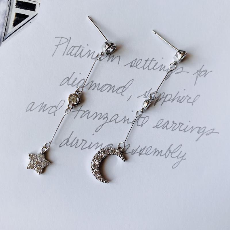 star × moon long  pierce