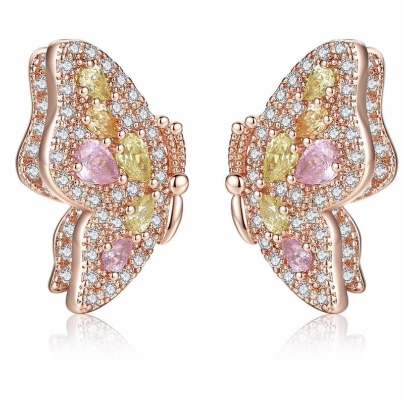 butterfly pink stone  pierce