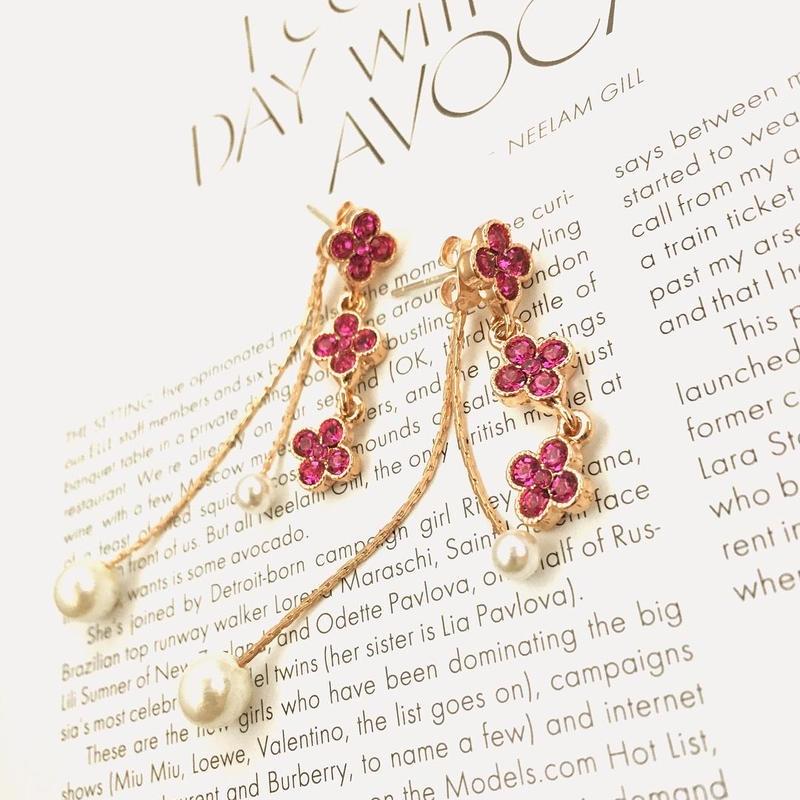 Ruby flower perl pierce