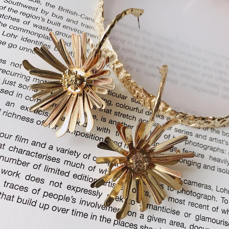 metal gold sunflower pierce