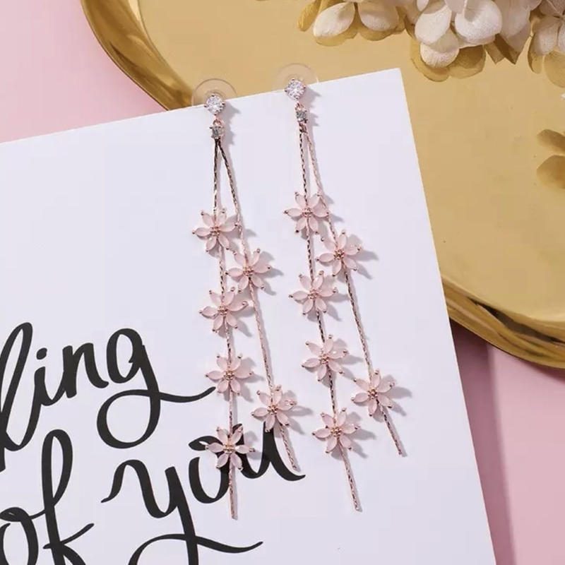 pink flower long  pierce